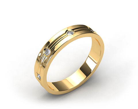 14k Yellow Gold 4mm Etched Bezel Set Diamond Wedding Ring